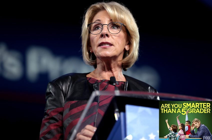 Secretary of Education Betsy Devos will Guest Star in Season Premiere of Are You Smarter than a Public School 5th Grader