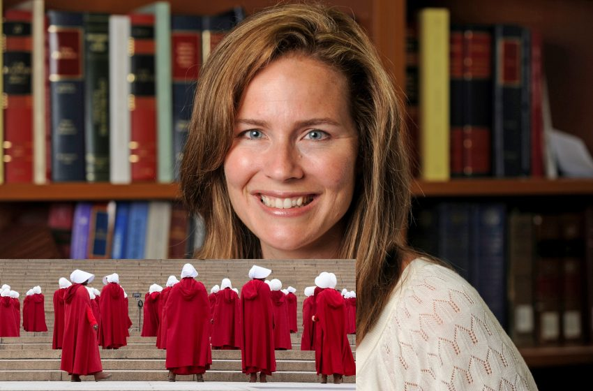Supreme Court Justice Nominee Amy Coney Barrett Shows Up To Confirmation Hearing Dressed as a Handmaid From the Show The Handmaid's Tale