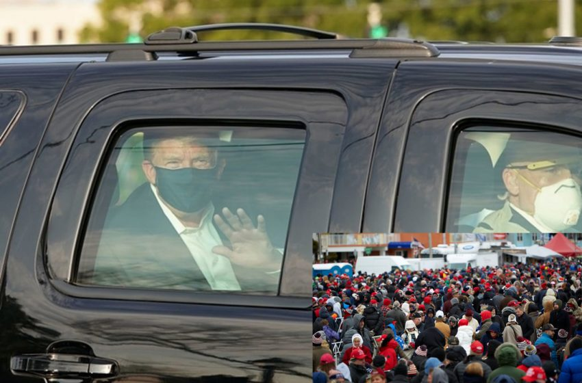 President Trump Rides in SUV to Give Patriotic Americans the Chance to Catch COVID-19 From Him