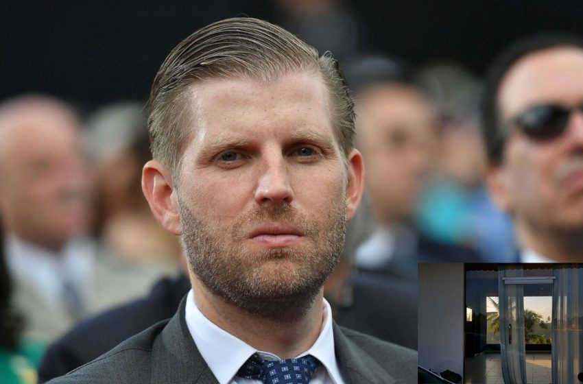 Eric Trump Seen Walking Into a Glass Storefront Multiple Times Before Finding the Door