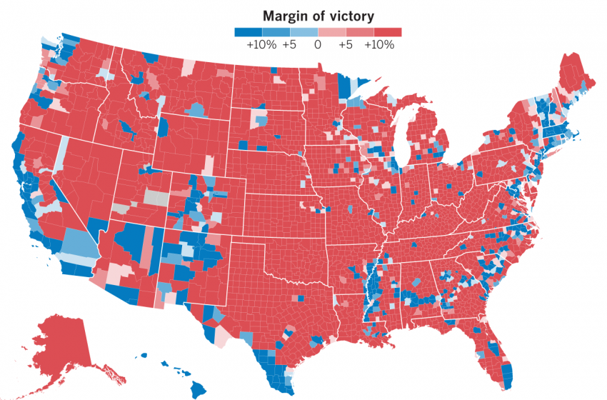 'Look How Red the Map Is, There's No Way Trump Lost' Says Dumbass Who Doesn't Realize That Landmass Doesn't Vote